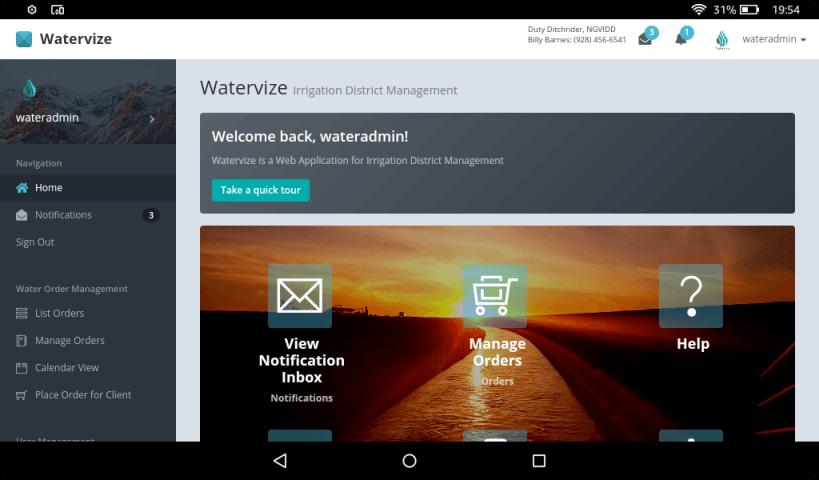 Main screen of Watervize Irrigation Management