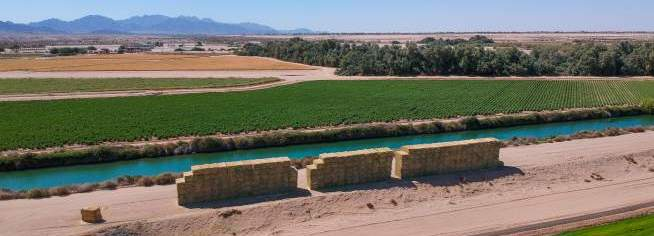 Canal and Hay Bales in Arizona